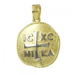 Christian pendant Yellow and white gold K14 Code 007156