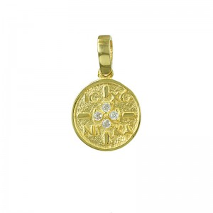 Christian pendant Yellow gold K14 Code 007178