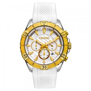 Breeze Sugarcoat 112231.1 Quartz Multifunction Stainless steel White rubber strap White color dial