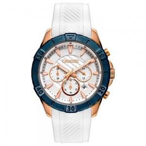 Breeze Sugarcoat 112231.3 Quartz Multifunction Stainless steel White rubber strap White color dial