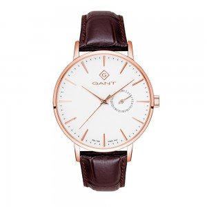 Gant Park Hill III G105008 Quartz  Stainless steel Brown color leather strap White color dial
