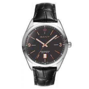 Gant Crestwood G141002 Quartz Stainless steel Black leather strap Brown color dial