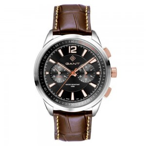 Gant Walworth G144001 Quartz Multifunction Stainless steel Brown leather strap Black color dial