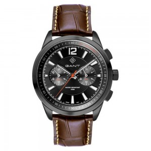 Gant Walworth G144008 Quartz Multifunction Stainless steel Brown leather strap Black color dial