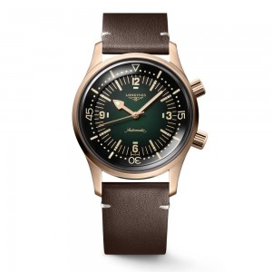 Longines Legend Diver L3.774.1.50.2 Diving Bronze Automatic Leather brown strap and Nato