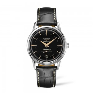 Longines Flagship Heritage L4.795.4.58.0 Automatic Stainless steel Black leather strap