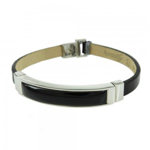 Handcuff made of Steel with Onyx and black color leather strap Code 008226
