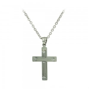 Cross with chain made of Steel Code 008252