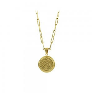 Pendant with chain, made of yellolw gold plated Steel Code 008236