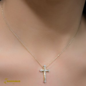Woman's cross pendant  with chain,  K14 and semiprecious stones 005766 Yellow and white gold