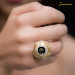 Ring  White and yellow gold K18 with wire of white gold Code 005806