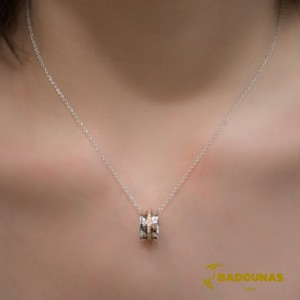 Diamond necklace White and pink gold K18  Brilliant cut Code 006795
