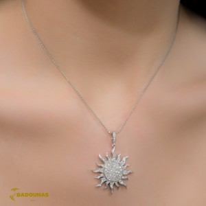 Diamond necklace White gold K18 Code 006938