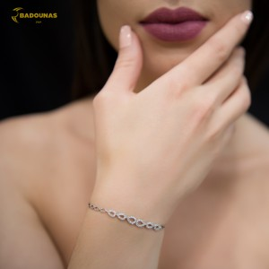 Bracelet  White gold K14 with semiprecious stones Code 006942