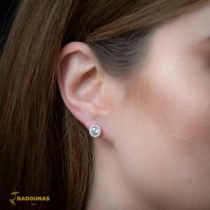 Earrings Rosette White gold K14 with semiprecious stones Code 008079