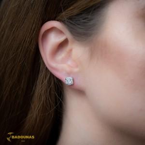 Earrings Rosette White gold K14 with semiprecious stones Code 008080