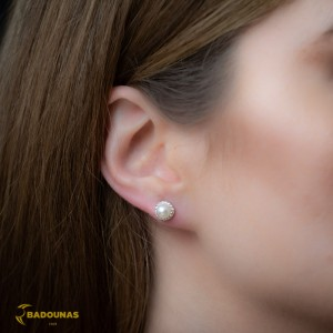 Earrings White gold K14 with semiprecious stones and pearl Code 008082