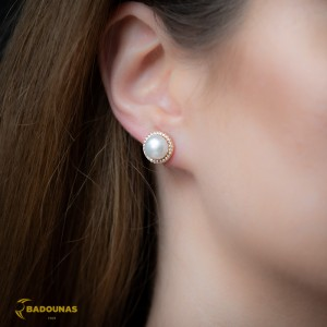 Earrings Pink gold K14 with semiprecious stones and pearl Code 008084