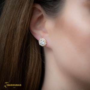 Earrings Rosette Yellow gold K14 with semiprecious stones Code 008087