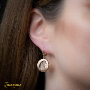 Earrings Pink gold K14 with semiprecious stones Code 008104