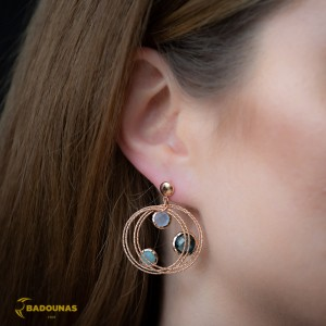 Earrings Pink gold K14 with London blue Topaz and Quartz Code 008105