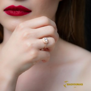 Solitaire rosette ring White gold K14 with semiprecious stones Code 008114