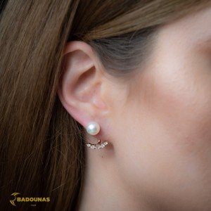 Earrings Pink gold K14 with semiprecious stones and pearl Code 008154