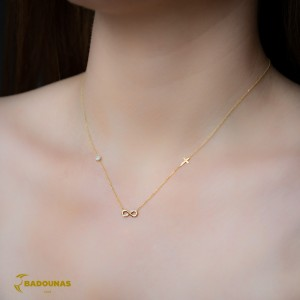 Necklace Infinity Yellow gold K9 with semiprecious crystals Code 008161