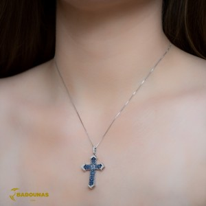 Woman's cross pendant  with chain, White gold K18 with Sapphires and Diamonds Code 008304