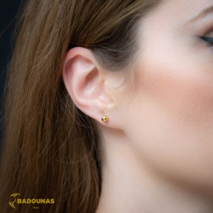Earrings Ball shape Yellow gold K14 Code 008391