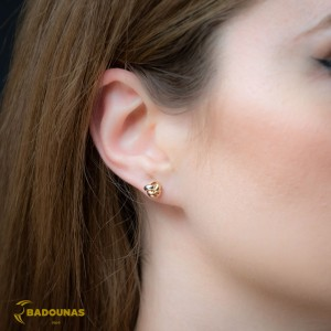 Earrings Yellow,white and pink gold K14 Code 008393