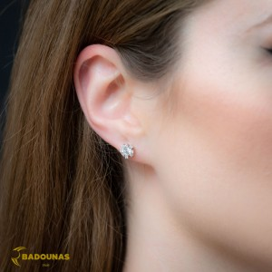 Earrings White gold K14 with semiprecious stones Code 008396