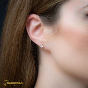 Earrings Pink gold K14 with semiprecious stone Code 008397