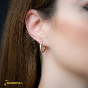 Earring rings Yellow gold K14 with semiprecious crystals Code 008405