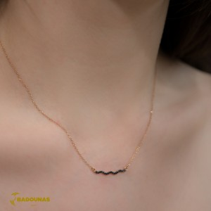 Bar necklace Pink gold Κ14 with semiprecious crystals Code 003861