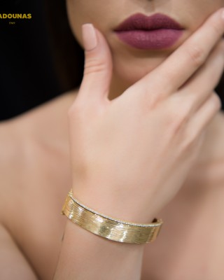 Bracelet Yellow gold K14 with semiprecious crystals Code 004603