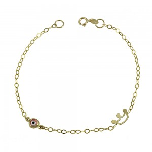 Bracelet for baby Crown and eye motif  Yellow gold K9 Code 008185