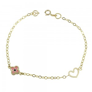 Bracelet for baby Heart and eye motif  Yellow gold K9 Code 008186