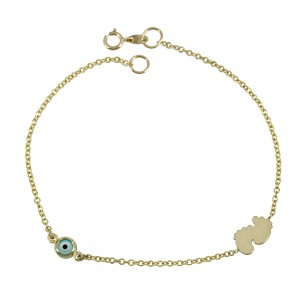 Bracelet for baby Cross and baby feet motif Yellow gold K9 Code 008188