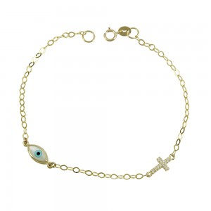 Bracelet for baby Cross motif Yellow gold K9 with semiprecious crystals Code 008189
