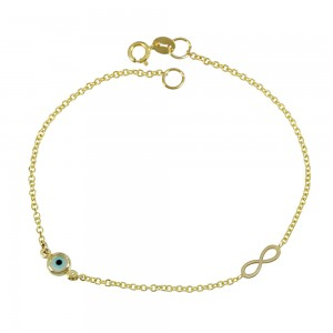 Bracelet for baby Cross and infinity motif Yellow gold K14 Code 008193