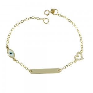Bracelet for baby girl Heart and eye motif  Yellow gold K9 with semiprecious crystals Code 008197