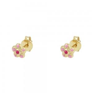 Earrings for baby girl Flower shape Yellow gold K9 Code 008429