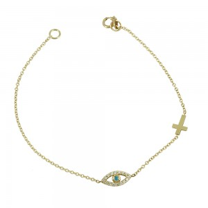 Bracelet Eye and cross motif  Yellow gold K14 with semiprecious stones Code 002526