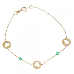 Bracelet Heart Pink gold K14 with semiprecious stones Code 002533