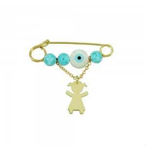 Jewelery brooch for girl Yellow gold K14 Code 003342
