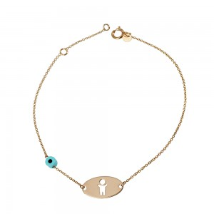 Bracelet  Pink gold K14 with turquoise Code 003354