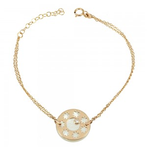 Bracelet Pink gold K14 with mother of pearl and diamond Code 003625