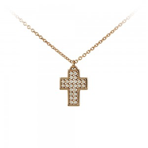 Cross with chain Pink gold K14 and diamond Brilliant cut Code 003649