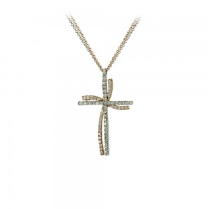 Woman's cross pendant  with chain,  K14 and semiprecious stones 003806 Pink and white gold